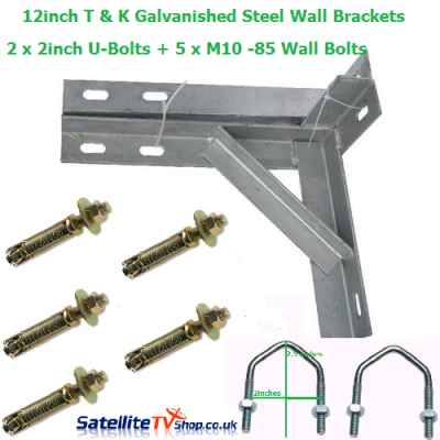 12 inch T + K Wall Brackets + 2 U-Bolts + 5 Wall Bolts and Plugs