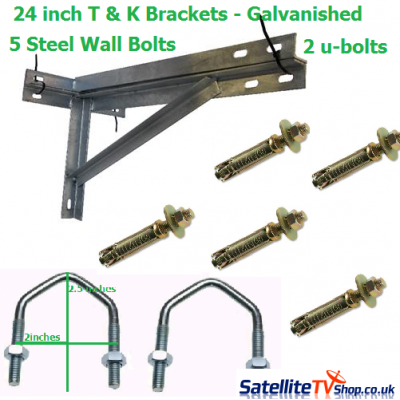T + K Brackets 24 inch + 2 U-Bolts + 5 Steel Wall Bolts + 5 Steel Plugs