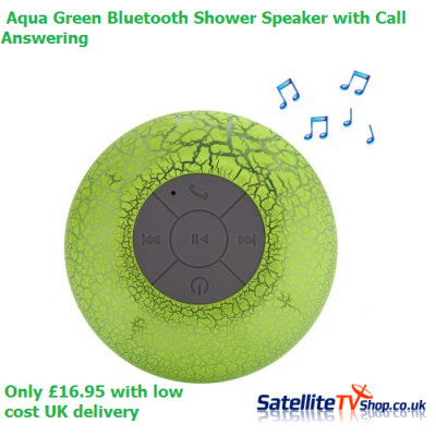Bluetooth Shower Speaker - Aqua Green - Hands-free Call / 400mAh Lithium-ion Battery / Lamp Colour Change
