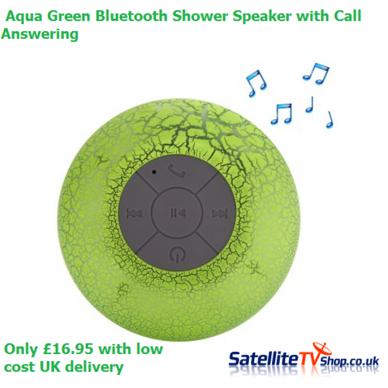 Bluetooth Shower Speaker - Aqua Green - Hands-free Call / 400mAh Lithium-ion Battery / Lamp Colour Change