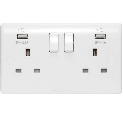 Twin Electrical Wall Socket + 2 USB Ports