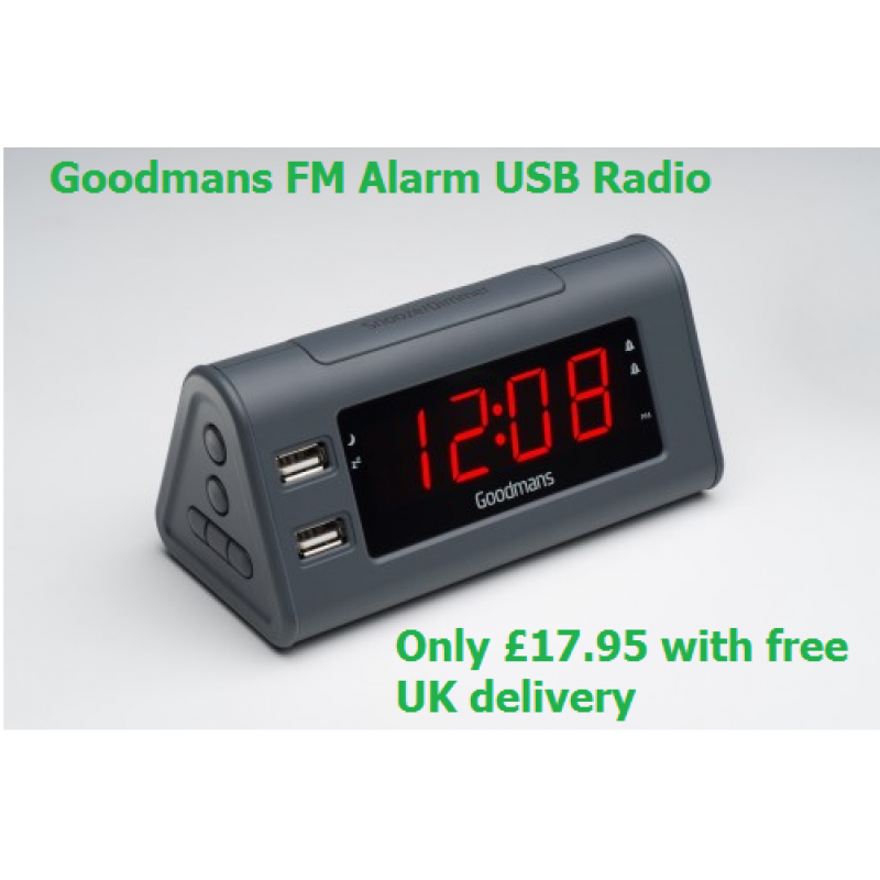 Goodmans FM Alarm Clock Radio with 2 x USB Charging Sockets - Slate