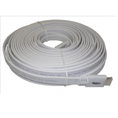 15m Flat White HDMI Cable V2.0 2160P / 3D