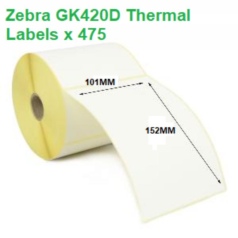 Zebra GK420D Thermal Labels 101mm x 152mm (12 rolls)