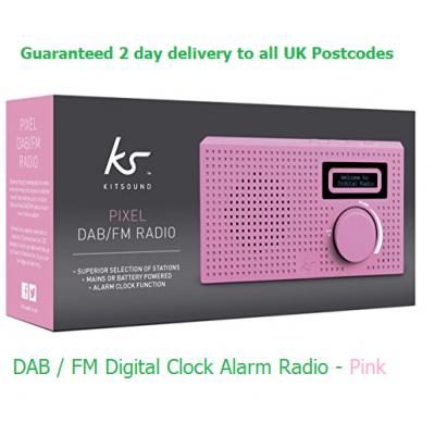 Kitsound Pixel DAB / FM Clock Digital Radio - Pink