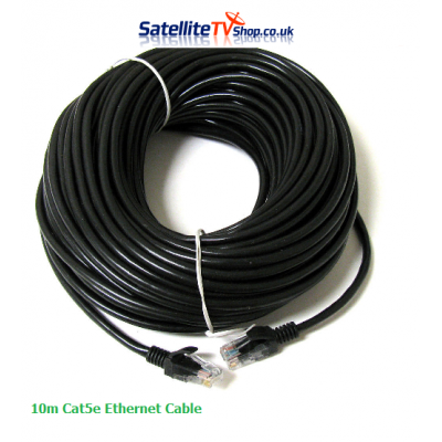 10m CAT 5E Network Cable RJ45 Black