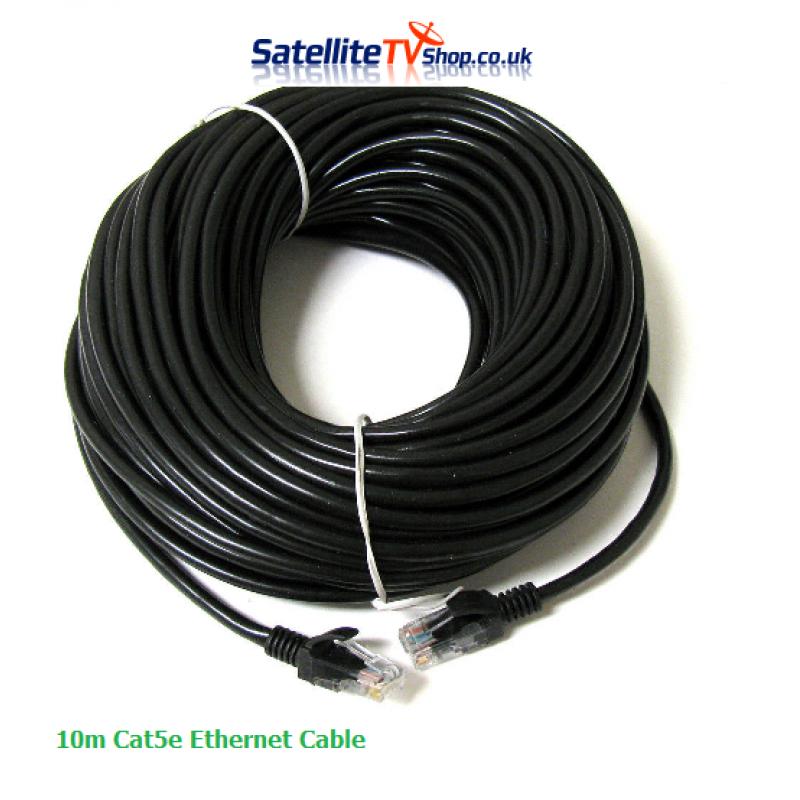 10m CAT 5E Network Cable RJ45 Black