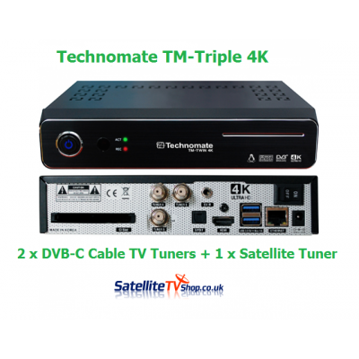Technomate TM-Twin 4K Triple 1 x Satellite DVB-S2 Tuner + 2 x Cable Tuners